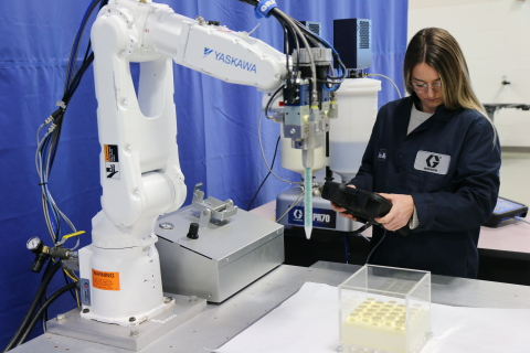Foaming urethane dispense for EV battery encapsulation with Voltex Dynamic Mix Valve and integrated PR70 metering system. (Photo: Business Wire)