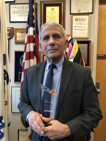 Dr. Fauci receives ASTCT 2021 Public Service Award (Photo: Business Wire)