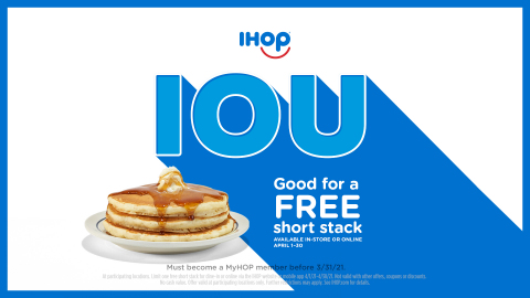 """IHOP cancels annual National Pancake Day and issues guests an """"IOU"""" (Graphic: Business Wire)"""