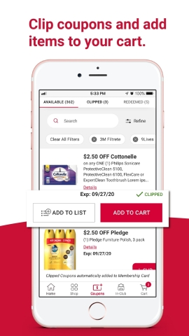 BJ's Wholesale Club is making it easier for members to seamlessly shop and save by launching new features on the BJ's app on Feb. 16, 2021. With these new features, members can now quickly clip digital coupons and add items directly to their cart. (Graphic: Business Wire)
