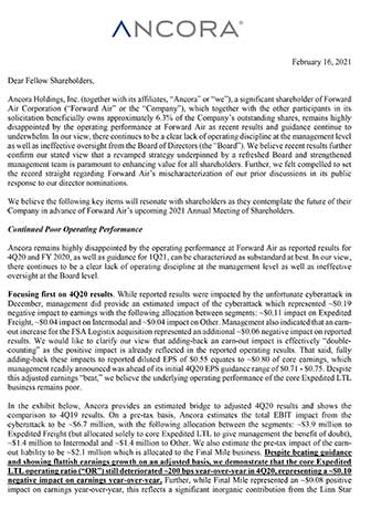 Ancora Letter to Forward Air 2.16.21