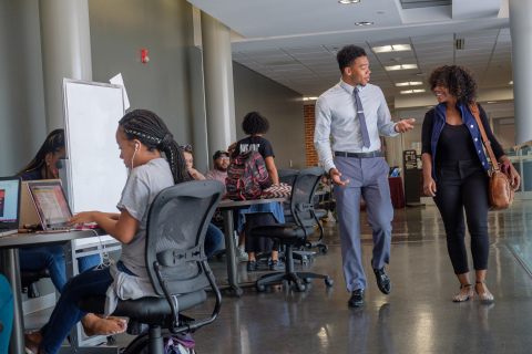 A photo shows law school students at North Carolina Central University (NCCU). Intel has announced a donation of $5 million over the next five years to the historically Black university. NCCU's School of Law will use the donation to create a new tech law and policy center. (Editor's note: Photo was taken in 2017, before COVID-19 pandemic. Currently, students, faculty and staff are required to wear face coverings and take full health and safety precautions. Credit: North Carolina Central University)