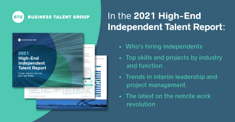 The 2021 High-End Independent Talent Report analyzes proprietary data to reveal how Fortune 1000 companies rely on independent workers to fill critical skill, expertise, and leadership gaps amid increasing economic optimism. (Graphic: Business Wire)