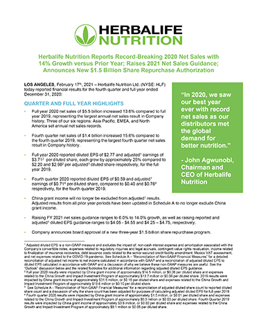 Herbalife Nutrition Reports Record-Breaking 2020 Net Sales with 14% Growth versus Prior Year; Raises 2021 Net Sales Guidance; Announces New $1.5 Billion Share Repurchase Authorization