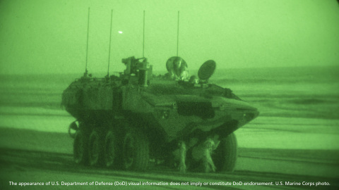 U.S. Marines with Amphibious Vehicle Test Branch, Marine Corps Tactical Systems Support Activity, stage new Amphibious Combat Vehicles on the beach during low-light surf transit testing on Marine Corps Base Camp Pendleton, California. Photo credit: U.S. Marine Corps