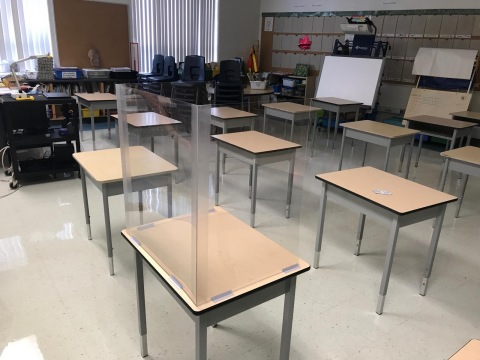 Protect Your Office desk dividers created for the Back 2 School program with the Global Crisis Coordination Center. (Photo: Business Wire)