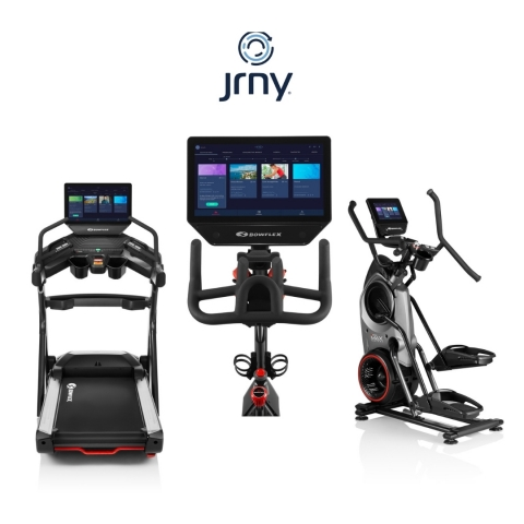 The updated JRNY® digital fitness platform and iOS app has added more personalized adaptive voice coached workouts and trainer-led videos; as well as the ability to pair with the Explore the World™ app. (Photo: Business Wire)