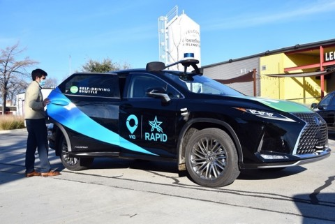 Ouster OS1 sensors on a May Mobility autonomous shuttle (Photo: Business Wire)