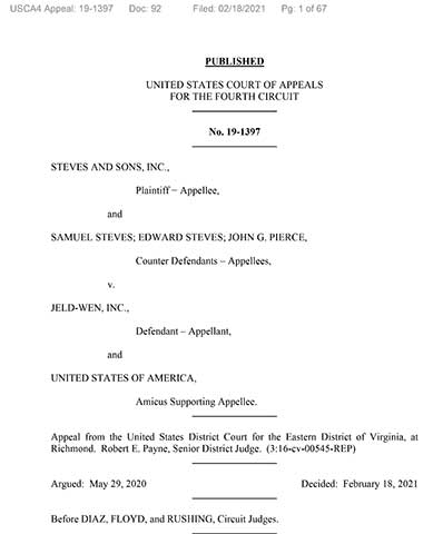 US 4th Circuit of Appeals Opinion:  Steves vs. JELD-WEN