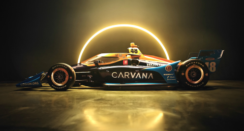 Carvana unveiled the paint scheme for Chip Ganassi Racing's No. 48 Honda, featuring Carvana's iconic halo and signature blue color palette. 7-time NASCAR Cup Series (NCS) Champion Jimmie Johnson will drive it in his rookie NTT INDYCAR SERIES season. (Photo: Business Wire)