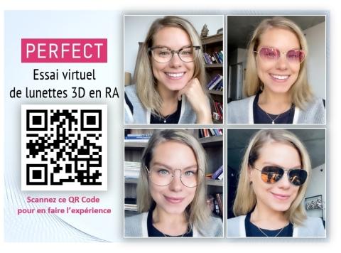 Perfect Corp. lance un service d'essai virtuel de lunettes 3D en réalité augmentée rapide et simple à mettre en place. (Photo: Business Wire)