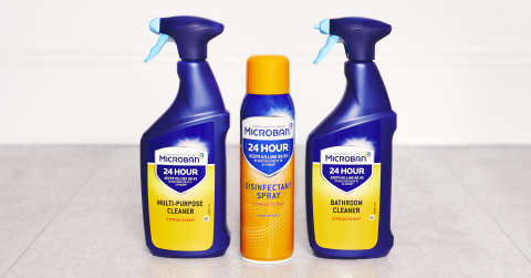 Microban 24 Multipurpose Cleaner, Microban 24 Disinfectant Spray, Microban 24 Bathroom Cleaner (Photo: Business Wire)
