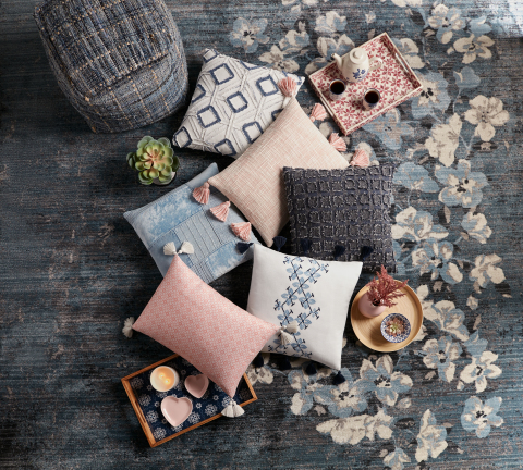 Hand-frayed pillows made out of Japanese denim look expensive but are fantastically affordable. (Photo: Business Wire)