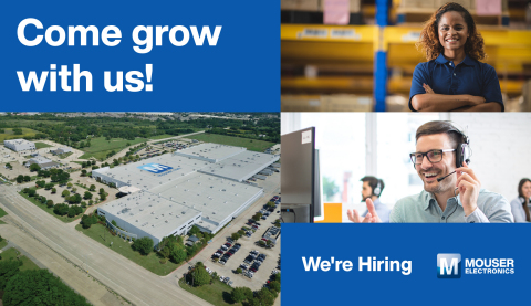 With continuous business growth, Mouser Electronics is currently boosting its workforce by adding more full-time employees at its global headquarters and distribution center in Mansfield, Texas. (Photo: Business Wire)