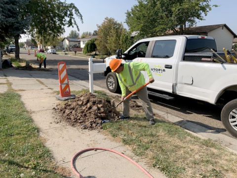 UTOPIA Fiber crews install fiber conduit in West Point, Utah. The network announced it had successfully closed on a $52.5 million round in February 2021. (Photo: Business Wire)