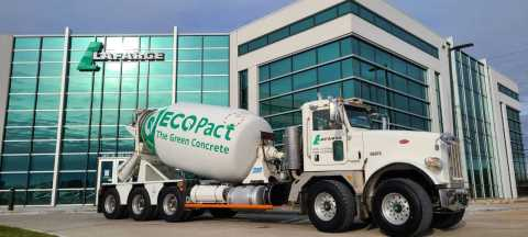 Lafarge Canada presents one of their newly branded ECOPact RMX concrete trucks. (Photo: Business Wire)