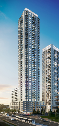 Solmar's master-planned development, Edge Towers, is the only new condo community located directly on the Hurontario LRT.  (Photo: Business Wire)
