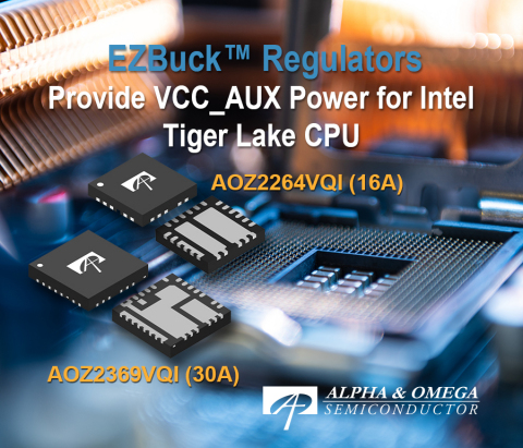 AOZ2264VQI and AOZ2369VQI with Adjustable Output Voltage using 2-bit VID Provides Highest Power Density Solution for Intel Tiger Lake CPU VCCIN_AUX Rails (Photo: Business Wire)