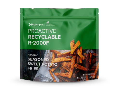 Recyclable High-Speed Frozen-Food Package: ProAmpac introduces ProActive Recyclable R-2000F material in pre-made pouches or film for high-speed form/fill/seal lines, offering excellent cold-temperature performance and outstanding display characteristics in the freezer case. (Photo: Business Wire)