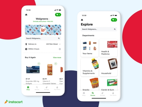 Walgreens storefront in Instacart mobile app. (Graphic: Business Wire)