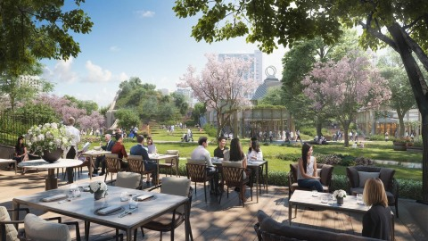 Hotel restaurant facing the central square (image) (Graphic: Business Wire)