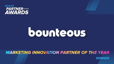Bounteous, a leading digital experience consultancy, today announced it has been selected as an Acquia Marketing Innovation Partner of the Year for 2020. Bounteous is being honored for its superlative performance during the past year in business growth. (Graphic: Business Wire)