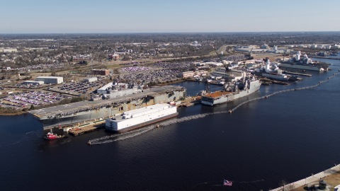 USS Wasp (LHD-1) being docked at BAE Systems' Norfolk Ship Repair. Photo credit: BAE Systems