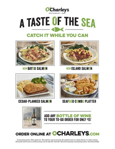 """O'Charley's new """"A Taste of the Sea"""" menu. Catch it while you can! (Photo: Business Wire)"""