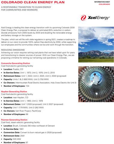 Colorado Clean Energy Plan, Fact Sheet