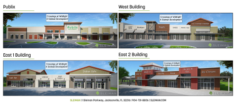 These images show the buildings at Crossings at Wildlight. Call Sleiman to lease your space today! (Graphic: Business Wire)