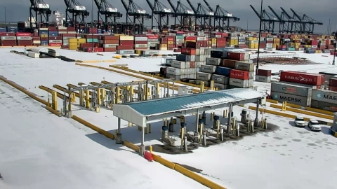 Bayport Container Terminal - Port Houston temporarily suspended operations at its eight public terminals due to historic sub-freezing temperatures in Texas. All public terminals have resumed operations. (Photo: Business Wire)