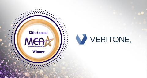 Veritone was recognized as the winner of the Industry Star Award in the 13th Annual Media Excellence Awards for its leadership in technology, entertainment & media. (Graphic: Business Wire)