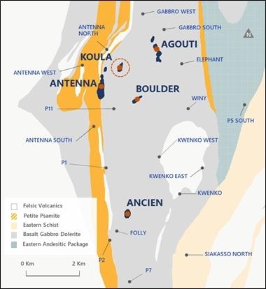 Figure 1. Séguéla deposits and satellite prospects