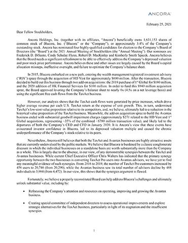 Ancora Sends Letter to Stockholders of Blucora, Inc. (NASDAQ: BCOR)