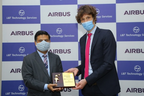 Abhishek Sinha, Chief Operating Officer and Board Member LTTS with Rémi Maillard, President Managing Director, Airbus India South Asia, commemorate LTTS joining the Skywise Partner Program (Photo: Business Wire)