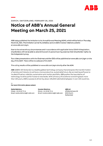 Notice of ABB's Annual General Meeting on March 25, 2021