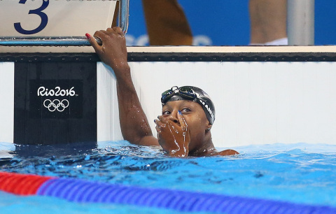Simone Manuel reacts to winning a Gold medal at the Olympic Games Rio 2016. (Photo: Getty Images)