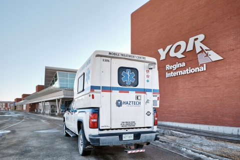 Haztech Mobile COVID-19 Testing unit at the Regina International Airport. (Photo: Business Wire)