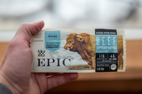 EPIC, the snack brand with a mission to improve the lives of animals, support human health, and help heal the land, debuts its first bar made from beef raised using practices to reduce carbon emissions. (Photo: Business Wire)