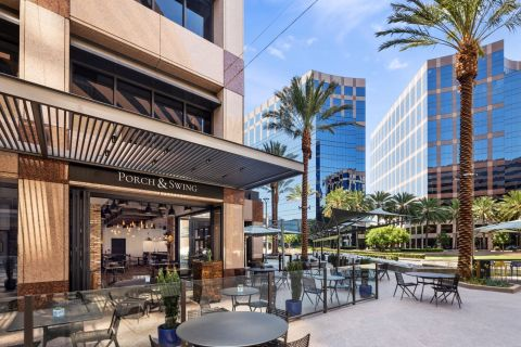 The award-winning Porch & Swing opens out into the newly renovated Centerview Plaza in Irvine. (Photo: Business Wire)