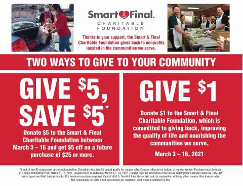 Smart & Final Charitable Foundation Hosts Fundraising Campaign March 3 - 16 at Smart & Final Stores to Support Local Community Nonprofits (Graphic: Business Wire)