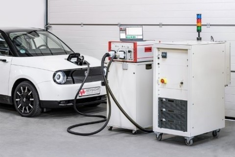 Keysight's SL1202A Scienlab Regenerative AC Emulator (right) with SL1040A Scienlab Charging Discovery System (middle) testing an EV's onboard charger (left) (Photo: Business Wire).
