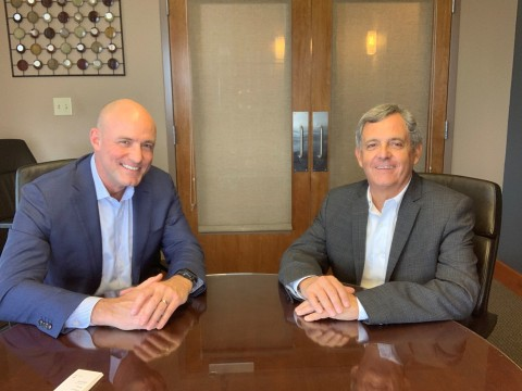 Todd Spangler, Americas Sales Director at Jetcraft (left), and Fabio Rebello, Chief Commercial Officer at Synerjet (right), mark the start of their strategic relationship. Synerjet, a Latin American business aviation specialist, will operate as an official Jetcraft authorized representative in the South America Region. (Photo: Business Wire)