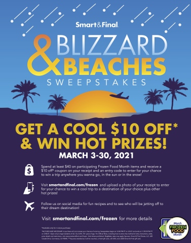 """Smart & Final Celebrates Frozen Food Month with """"Blizzard & Beaches"""" Vacation Contest and In-Store Promotions (Graphic: Business Wire)"""