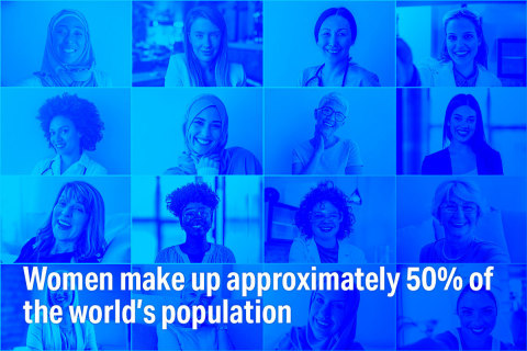 Women make up approximately 50% of the world's population. Learn more at Disruptive Women Powering Our Autonomous Future, a free half-day summit on 3/25/21 featuring women leaders in the AV industry. (Graphic: Velodyne Lidar, Inc.)