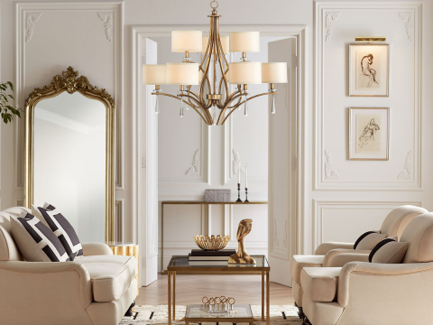 The Stiffel Parlene gold chandelier, available exclusively from Lamps Plus, adds luxury to the room. (Photo: Business Wire)