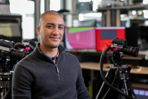 """Two-time Olympic gold medalist Ashton Eaton works as a product development engineer in Intel's Olympic Technology Group. """"There's a massive gap in the sports and movement field, between what people feel when they move and what they actually know that they're doing,"""" says Eaton, who won gold medals in the decathlon. (Credit: Intel Corporation)"""
