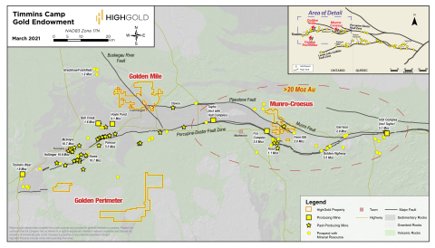 Figure 1 – Location of HighGold Projects in Timmins Gold Camp, Ontario