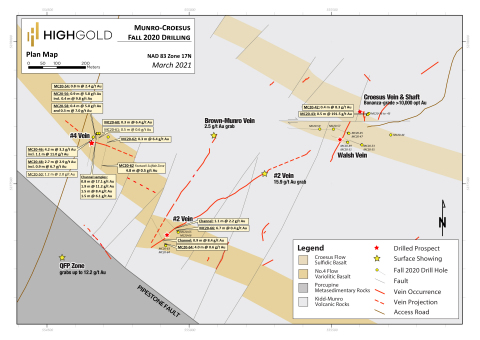 Figure 2 – Munro-Croesus Project – 2020 Drill Hole Location Map