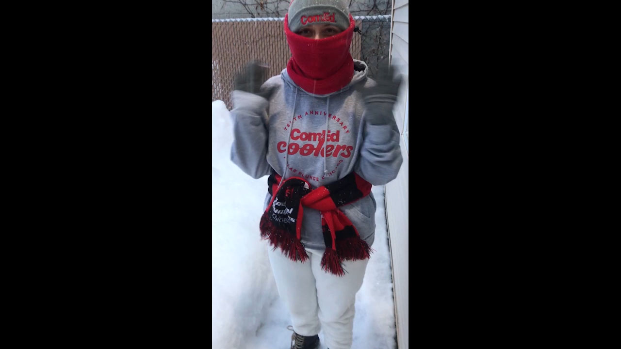 ComEd employee participating in virtual plunge.